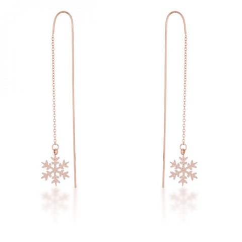 Noelle Rose Gold Stainless Steel Snowflake Threaded Drop Earrings - F. W. Woolworth Co. Online Store