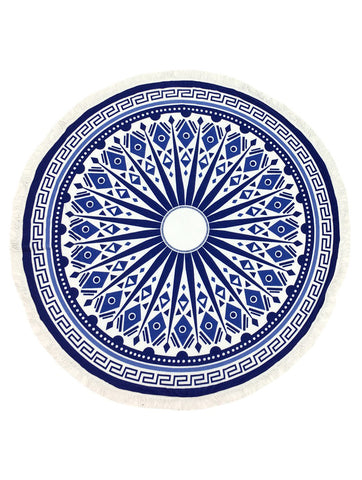 Blue Tribal Round Beach Towel