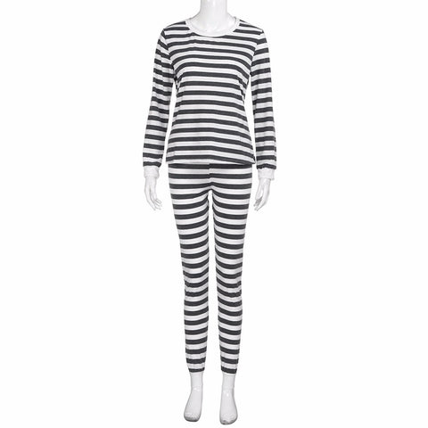 Long Sleeved Striped Pajama Set