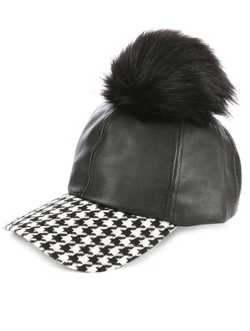 Faux Pom Pom & Suede Houndstooth Baseball Cap - F. W. Woolworth Co. Online Store