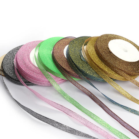 6mm Metallic Glitter Ribbon, 25 yards