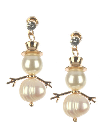 Snowman Derby Pearl Earrings