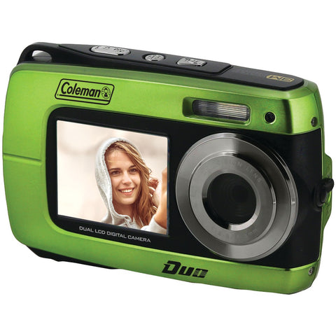 Coleman 18.0-megapixel Duo 2v8wp Dual-screen Waterproof Hd Digital Camera (green) - F. W. Woolworth Co. Online Store