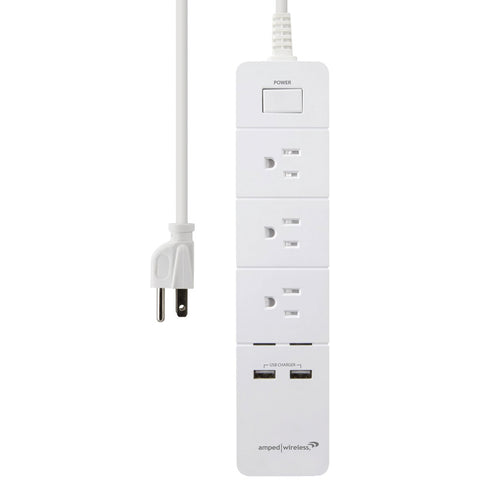 Amped Wireless 3-outlet Wireless Smart Surge Protector With 2 Usb Ports