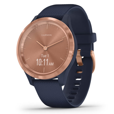 Garmin Vivomove 3s Hybrid Smartwatch (rose Gold Stainless Steel Bezel With Navy Case And Silicone Band)