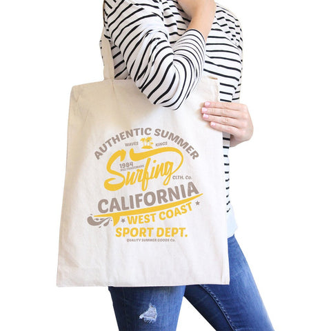 Authentic Summer Surfing California Natural Canvas Bags
