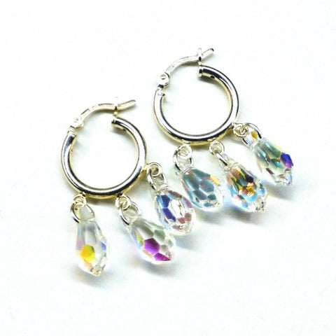 Sterling Silver Hoop Sparkly Crystal Drop Dangle Earrings
