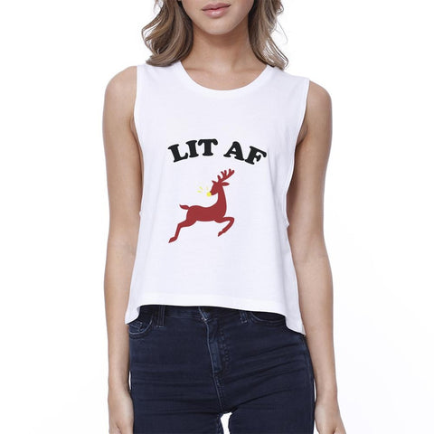 Lit Af Womens White Crop Top - F. W. Woolworth Co. Online Store