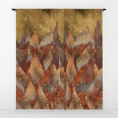Abstract Copper Christmas Winter Mountain Dreamscape Window Curtains