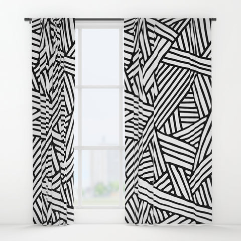 Abstract White & Black Lines and Triangles Window Curtains
