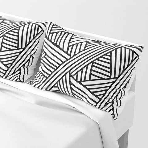 Abstract White & Black Lines Pillow Shams | Set of 2