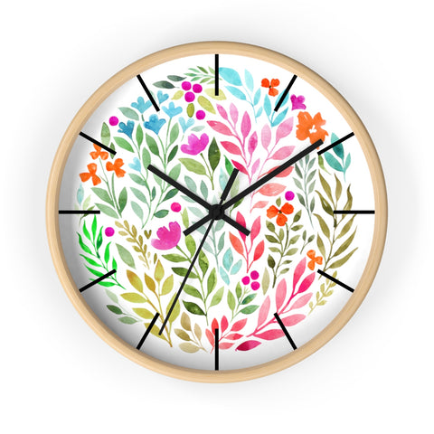Watercolor Florals Wall Clock