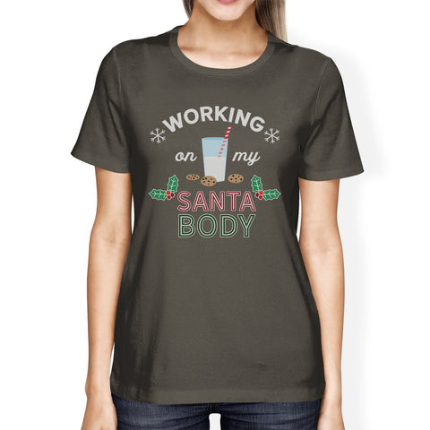 Working On My Santa Body Womens Dark Grey Shirt