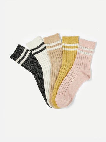 Striped Rib Socks - 5 pairs