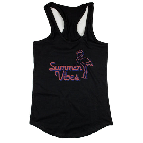 Black Summer Vibes Flamingo Tank top for Women Summer Vacation Beach Wear