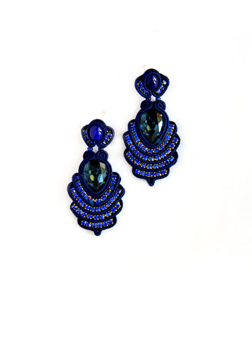 Blue Dangle Earrings With Swarovski Stones