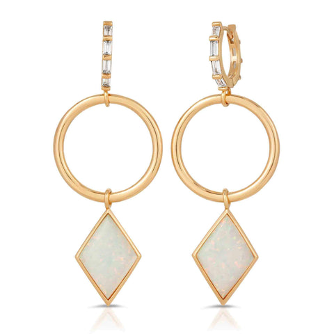 Trinity Gold White Opal Earrings