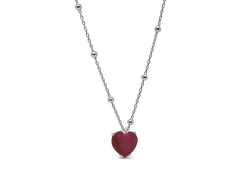 Lab Ruby Heart Pendant Necklace