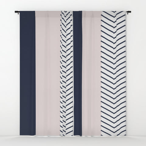 Navy Blush and Grey Arrow Window Curtains