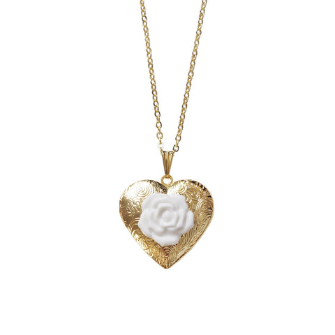 Classic Heart Locket With Porcelain Rose Pendant Necklace - F. W. Woolworth Co. Online Store