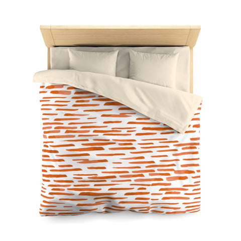 Red-Orange Stripes Microfiber Duvet Cover
