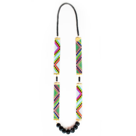 Acapulco Long Woven Beaded Necklace - tribal print