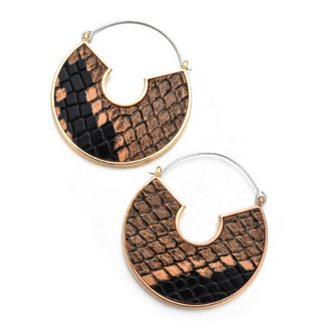 Snake Skin Leather Half Moon Earrings