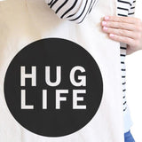 Hug Life Natural Tote Bag Simple Trendy Design PocketSize Graphic - F. W. Woolworth Co. Online Store