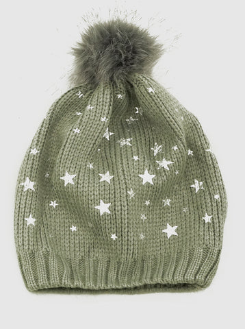 Celestial Stars Knit Beanie Hat With Pom Pom