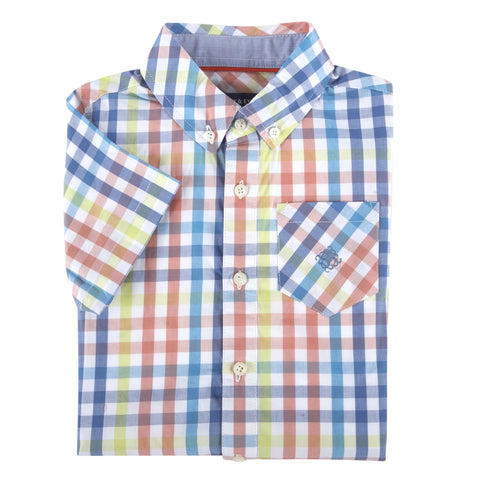 Multi Gingham Short Sleeve Button-Down Shirt