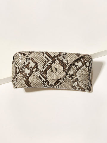 Button Detail Snakeskin Print Glasses Bag - F. W. Woolworth Co. Online Store