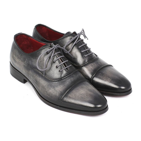 Paul Parkman Men's Captoe Oxfords Gray & Black Shoes (ID#077-GRY) - F. W. Woolworth Co. Online Store
