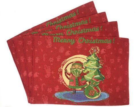 "Santa Claus Placemats, Set of 4 Christmas Tapestry 13"" X 19"" (17615)"