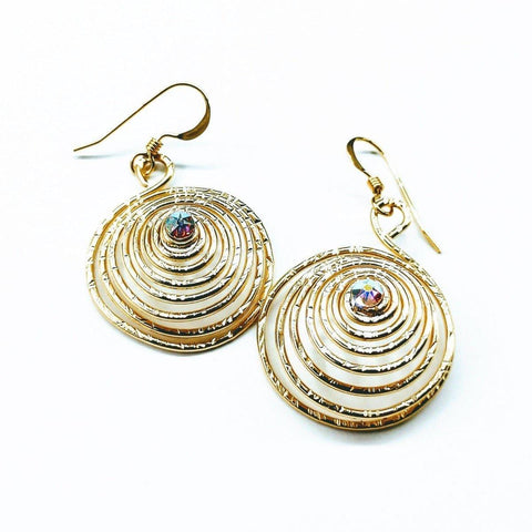 14 KT Gold Fill Sparkly Crystal Spiral Handmade Earrings
