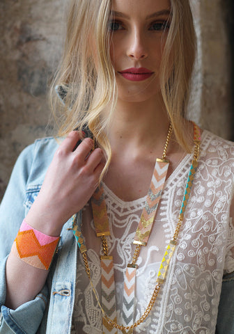 Soleil Skinny Long Beaded Necklace - pink, yellow, turquoise and gold