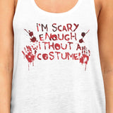 Scary Without A Costume Bloody Hands Womens White Tank Top - F. W. Woolworth Co. Online Store