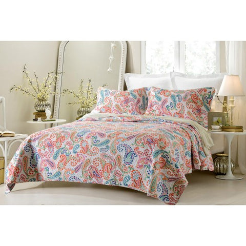 Cherry Hill Collection - Paisley Multi Color Quilt Set