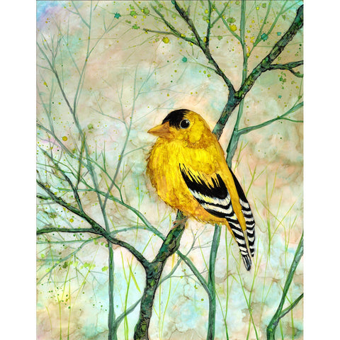 """Golden Finch"" Mixed Media Painting"