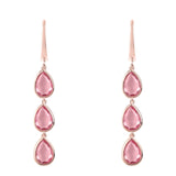 Sorrento Triple Drop Earring Rosegold Pink Tourmaline