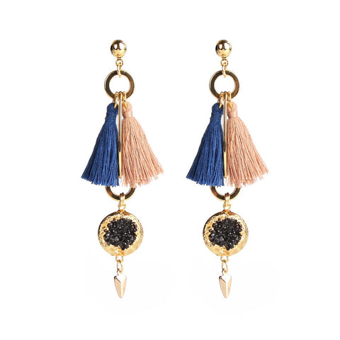 MAGNOLIA BLUE & BIEGE TASSEL EARRINGS - F. W. Woolworth Co. Online Store