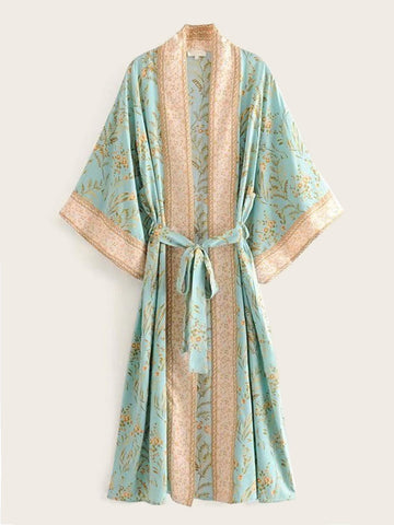 Tribal Floral Print Belted Kimono