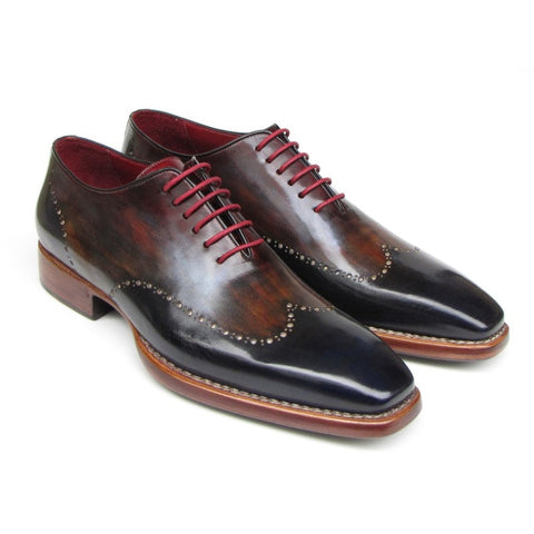 Paul Parkman Men's Wingtip Oxford Goodyear Welted Navy Red Black (ID#081-MIX) - F. W. Woolworth Co. Online Store