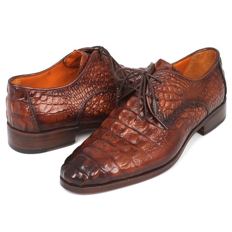 Paul Parkman Light Brown Crocodile Embossed Calfskin Derby Shoes (ID#1438TAB) - F. W. Woolworth Co. Online Store