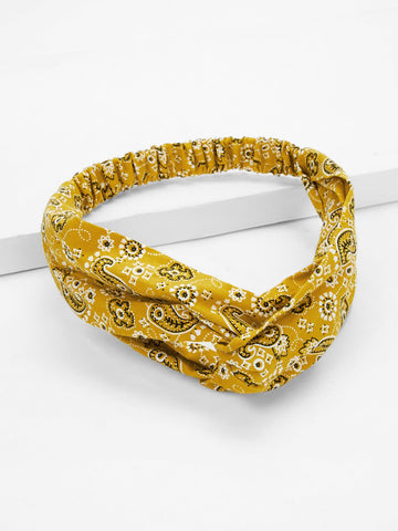 Paisley & Flower Pattern Twist Headband