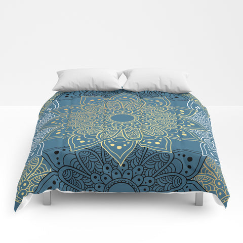 Golden Mandala on Blue Comforter - F. W. Woolworth Co. Online Store