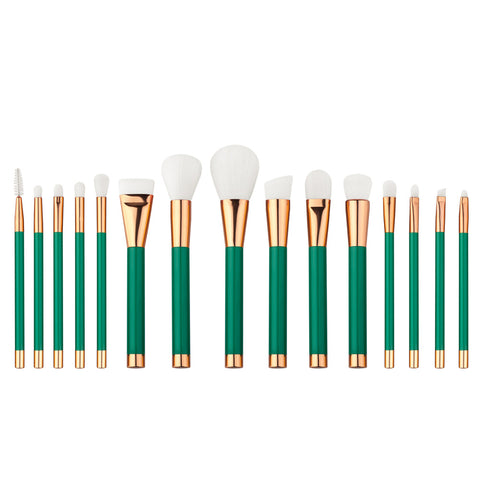 Green Makeup Brush Set | Set of 15 - F. W. Woolworth Co. Online Store