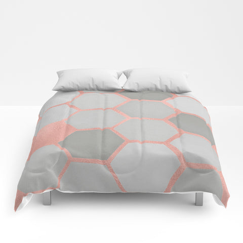 Honeycomb on Rosegold Comforter