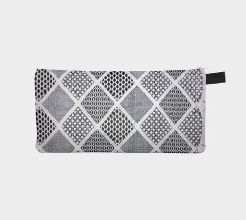 White Lace 3 Geometric Lace Printed zip clutch Purse Pencil Case Makeup Bag Gift