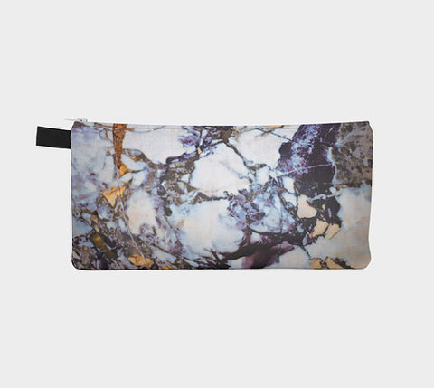 Gold & Blue Marble Printed Zip Clutch Marble Makeup Case Marble Cosmetic Case - F. W. Woolworth Co. Online Store