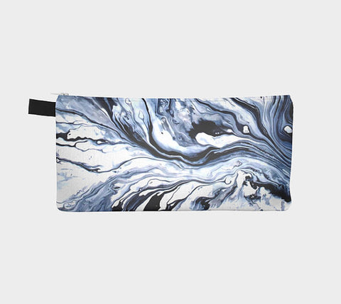 Indigo Blue Marble Zip Clutch Modern Marbled Trend Cosmetic Bag Marble Pencil Case